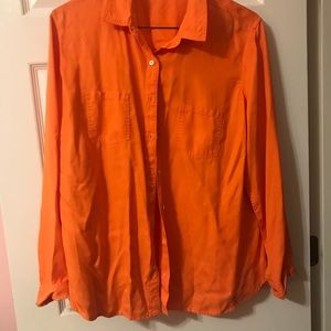 Women's Sherbet Orange Button Down Shirt